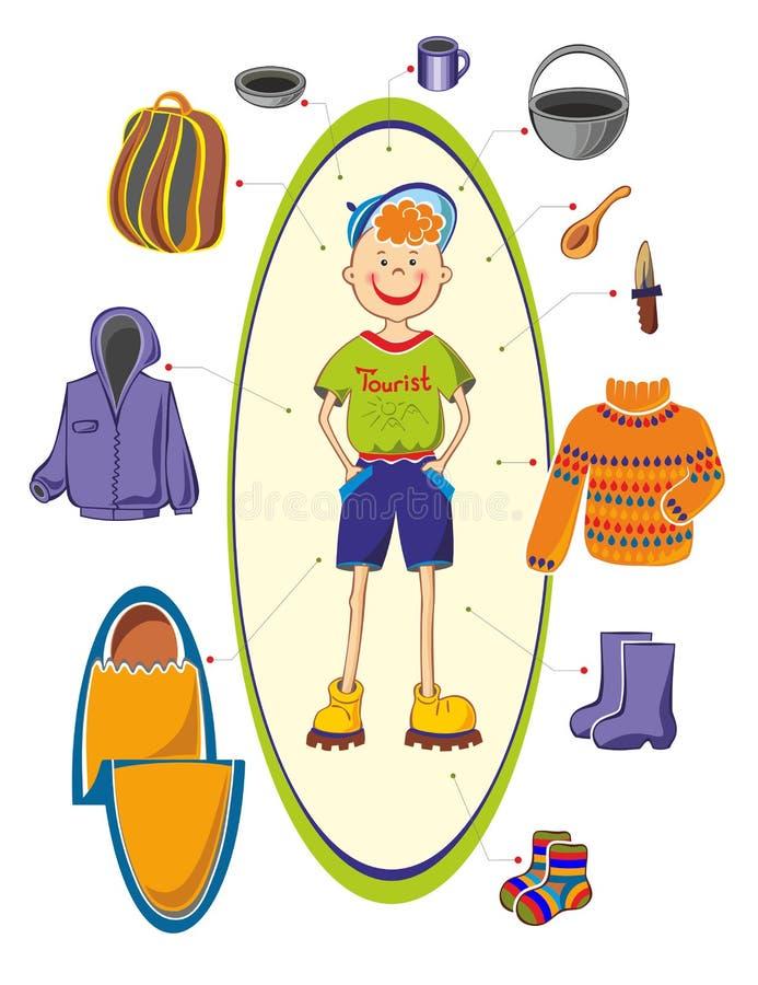 Boy tourist royalty free illustration