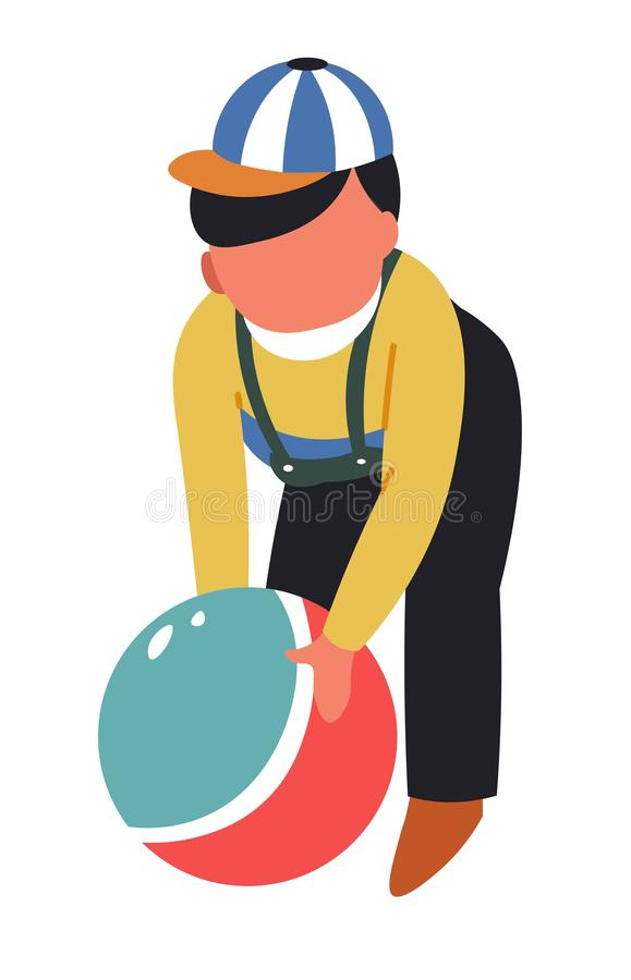 Boy with toy ball kid playing game toddler childhood. Toddler childhood boy with toy ball kid playing game vector isolated character child in overalls and cap vector illustration
