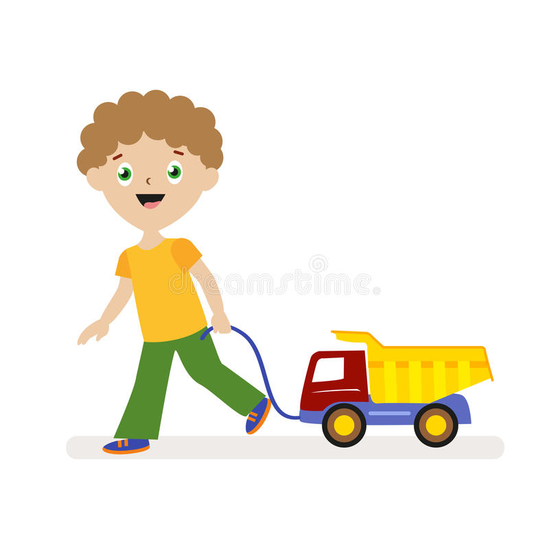 Boy with toy car on a string. Small child on a walk. Flat character isolated on white background. Vector, illustration. EPS10 vector illustration