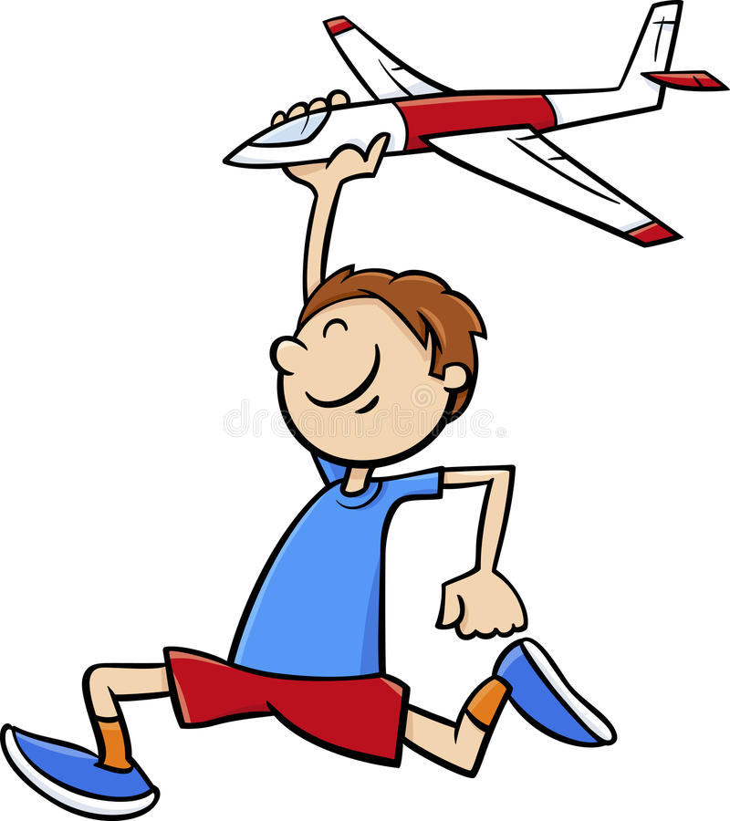 Boy with toy plane cartoon stock illustration