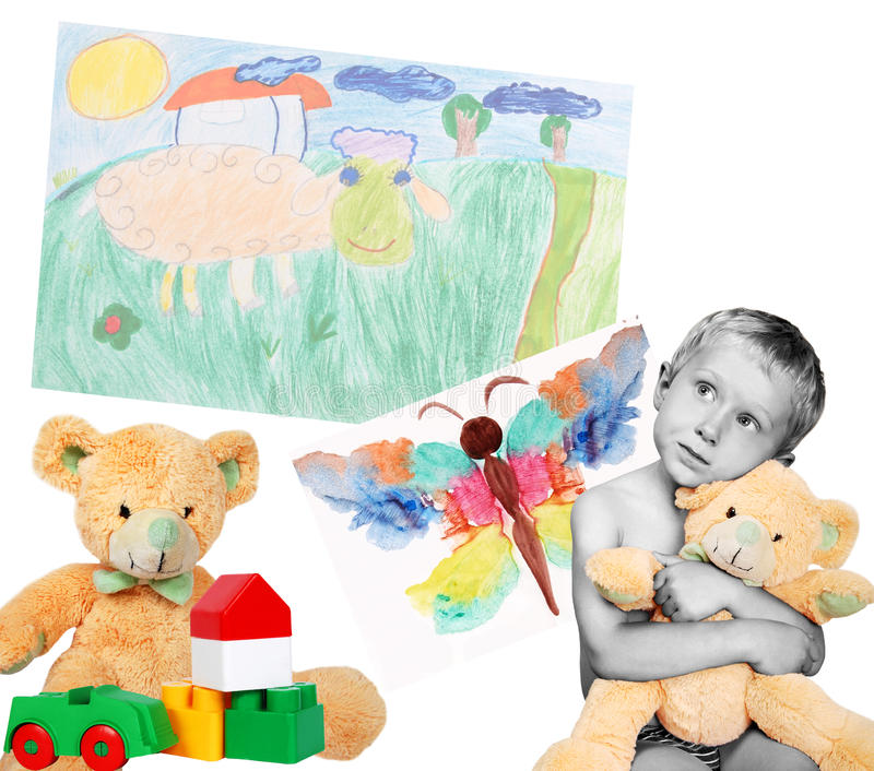 Download Boy With Toys And Drawings Royalty Free Stock Photo - Image: 20592865