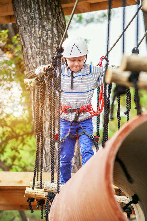 Boy on the track in Adrenalin park stock photography