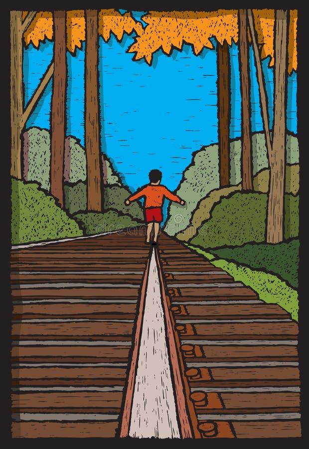 Download Boy on Train Tracks stock vector. Image of railroad, illustration - 42504197