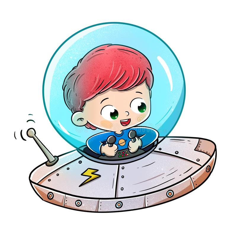 Boy traveling in a flying saucer or spaceship stock photo