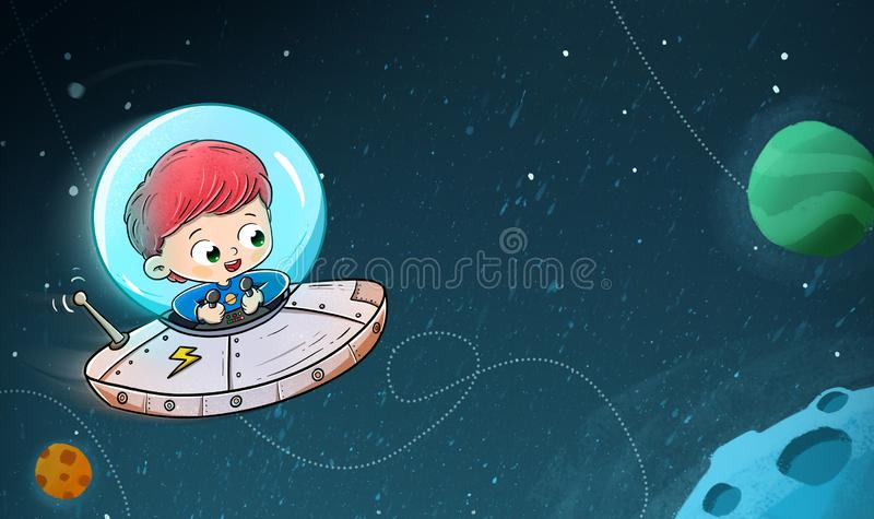 Boy traveling in a spaceship through space stock images