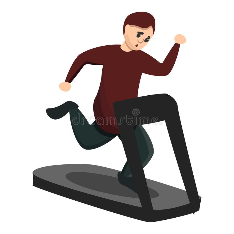 Boy at treadmill icon, cartoon style. Boy at treadmill icon. Cartoon of boy at treadmill vector icon for web design isolated on white background royalty free illustration