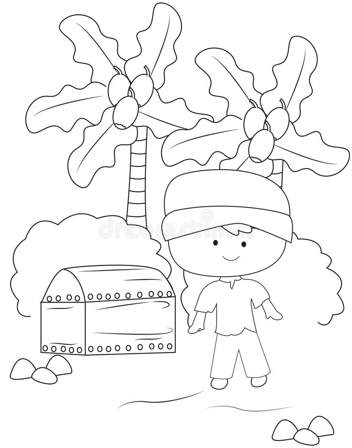 boy with a treasure chest coloring page stock illustration image - Open Treasure Chest Coloring Page