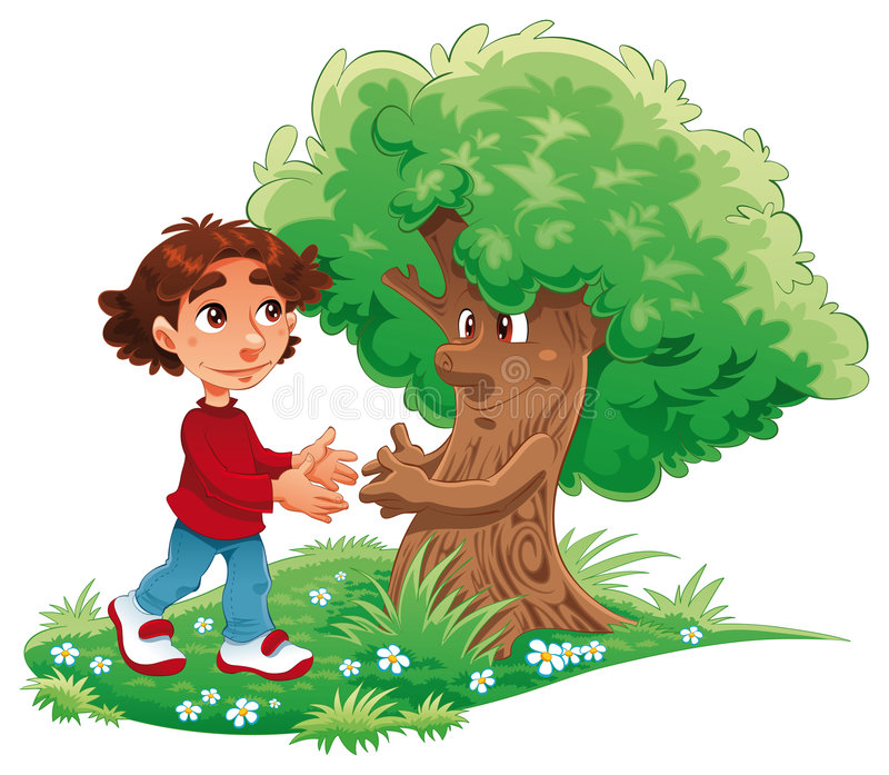 Boy and tree. Funny cartoon and vector illustration