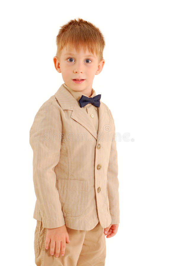 Boy trendy. Isolated on white background stock photo