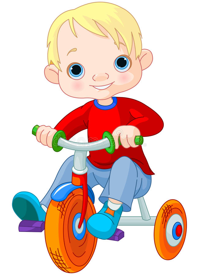 Boy on tricycle royalty free illustration