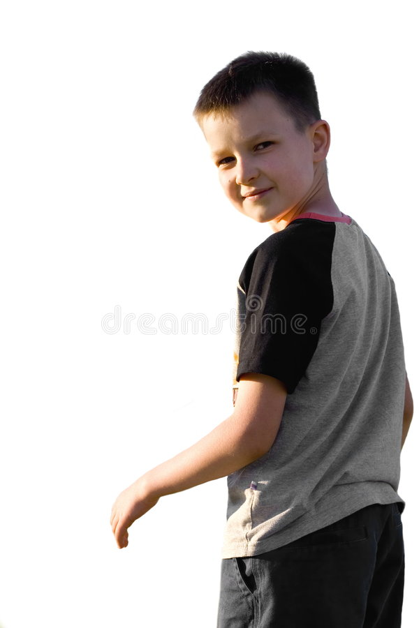 Boy Turns And Looks royalty free stock photo
