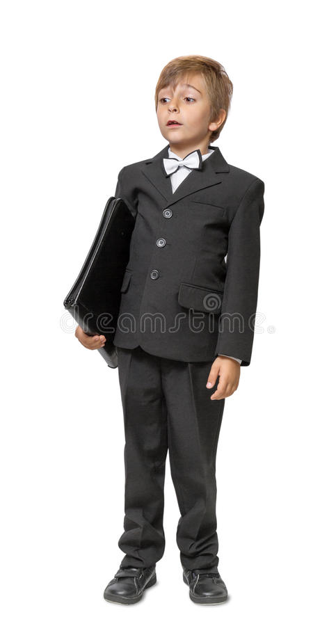 Download Boy In A Tuxedo With A Folder In Hands. Stock Image - Image: 33952315