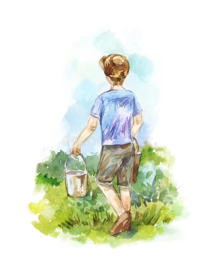 Boy with two buckets goes on a path to water the garden. Boy with two buckets goes on path, watering garden. Watercolor summer illustration stock illustration