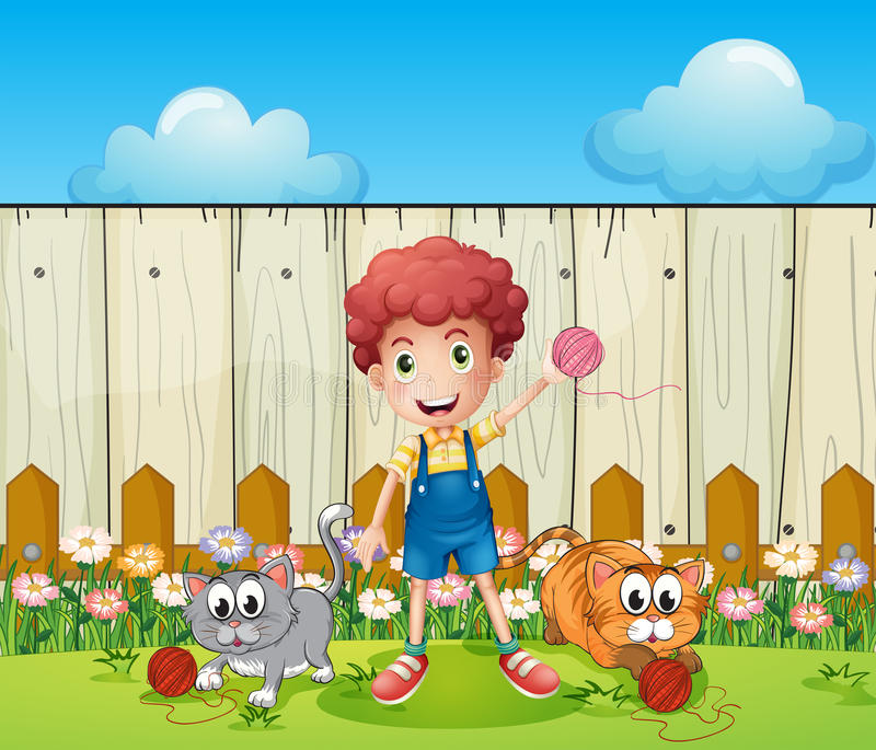 Download A Boy With Two Cats Inside The Fence Stock Illustration - Image: 33691404