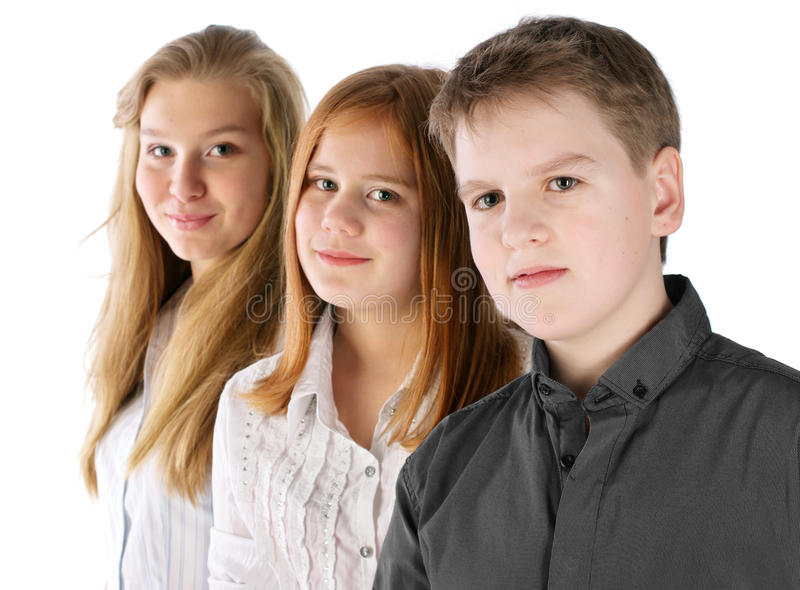 Download Boy And Two Girls Stay In Line Stock Photo - Image: 19335820