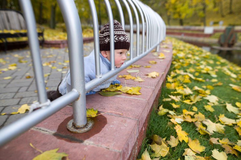 A boy of two years on a walk in a city park.  royalty free stock photos