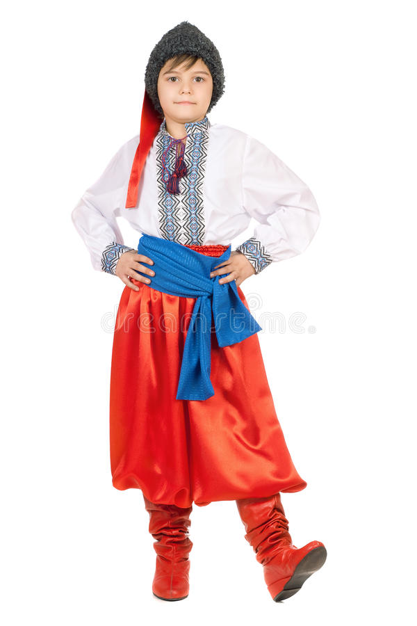 Boy in the Ukrainian national costume. Isolated royalty free stock photography