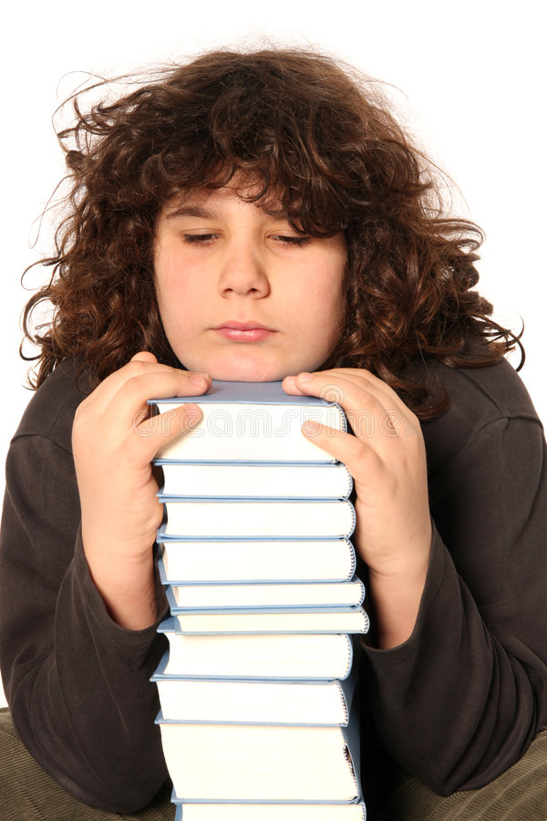 Download Boy unhappy and many books stock image. Image of elementary - 4693763