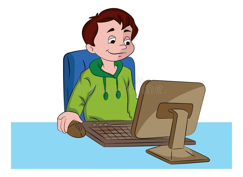 Boy Using a Desktop Computer, ilustración ilustración del vector