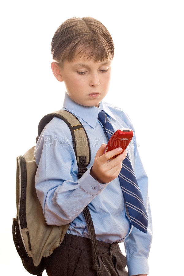 Boy using a mobile phone stock photos