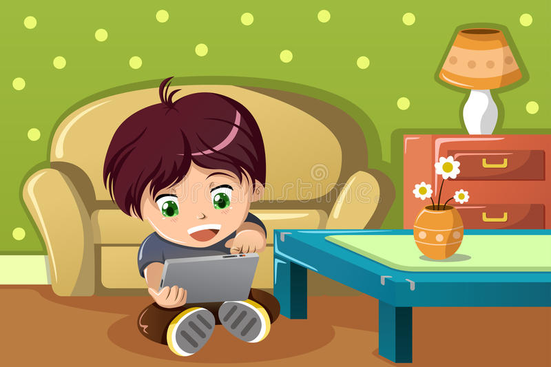 Boy Using A Tablet Pc Stock Vector Illustration Of Room