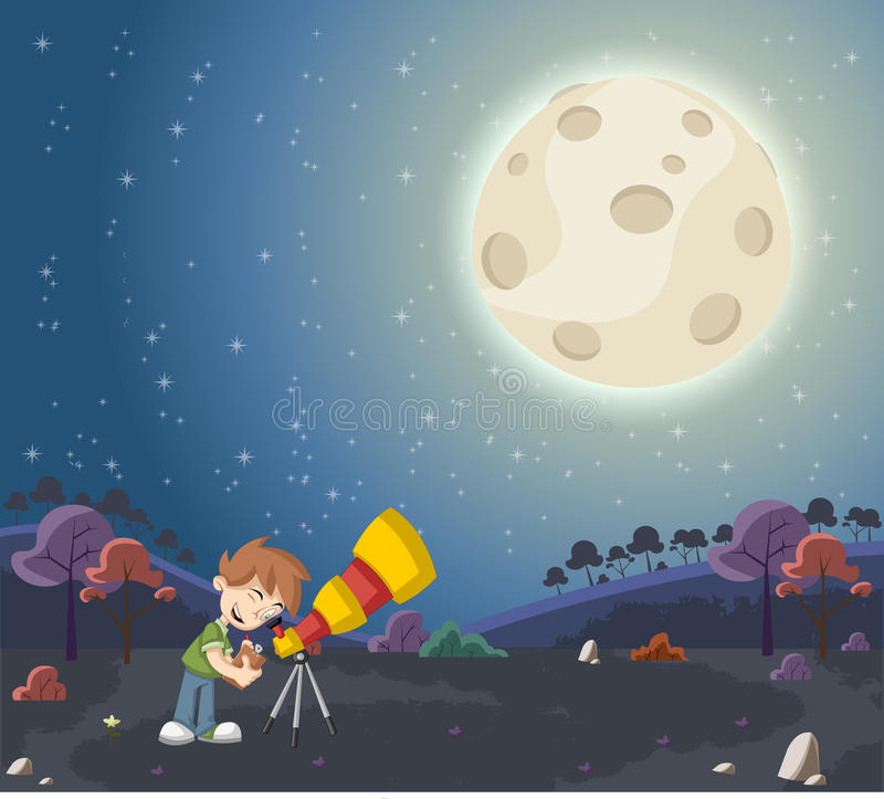 Boy using a telescope to look at the moon. Cartoon boy using a telescope to look at the moon stock illustration