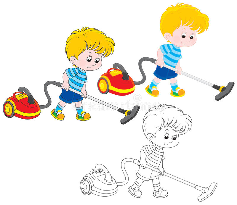 Boy with a vacuum cleaner. Little boy vacuuming with a red and yellow hoover, three versions of the illustration stock illustration