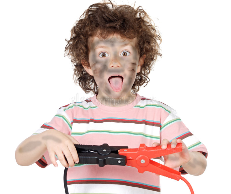 Boy victim with electricity royalty free stock photos