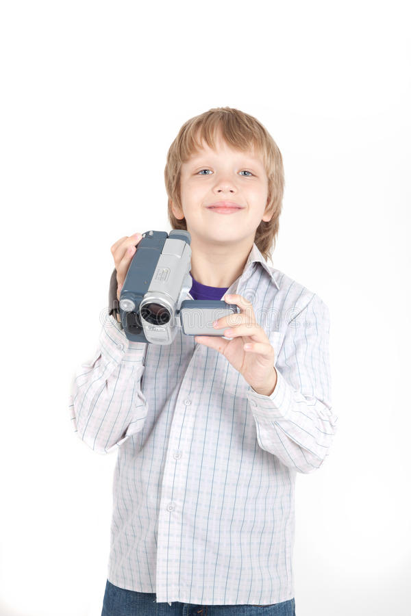 Download Boy with video camera stock photo. Image of display, single - 14477302