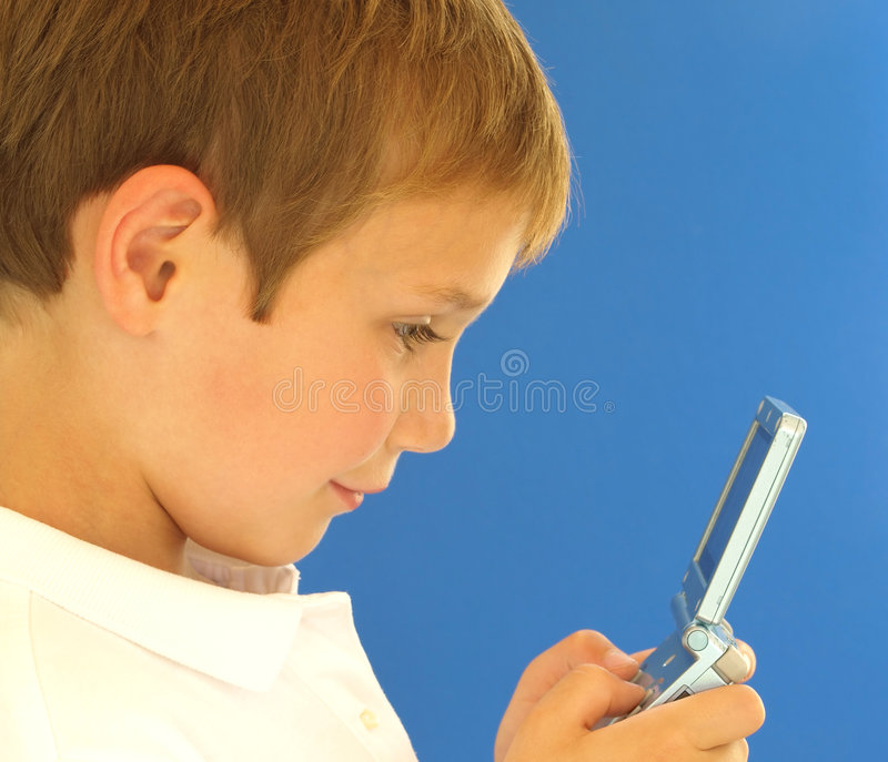 Boy with video game royalty free stock image