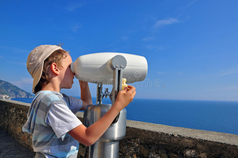 Download Boy at the viewpoint stock photo. Image of binoculars - 34454530