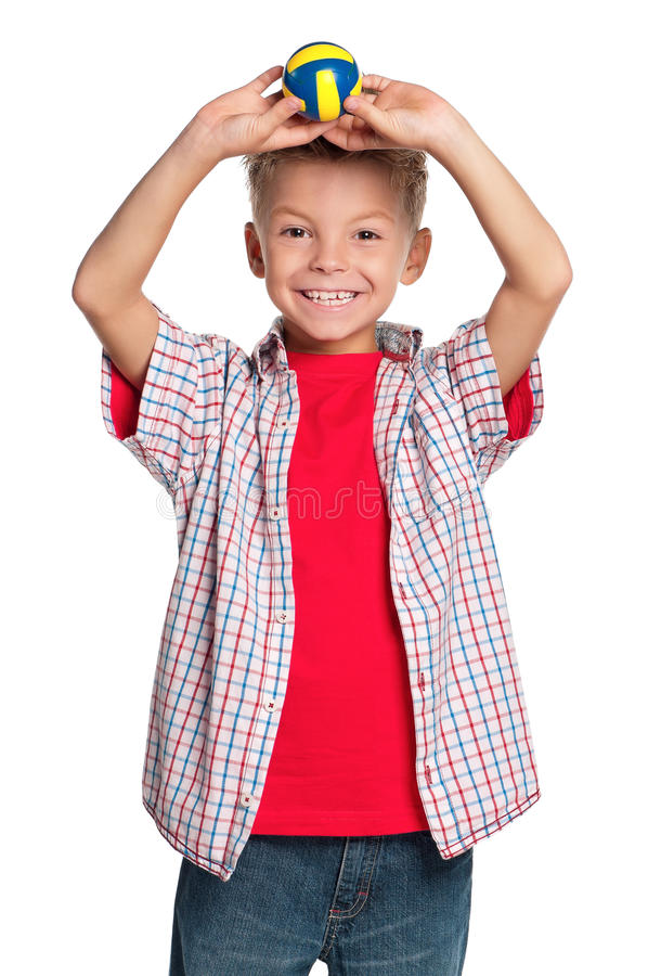 Download Boy with volleyball ball stock photo. Image of miniature - 26800080