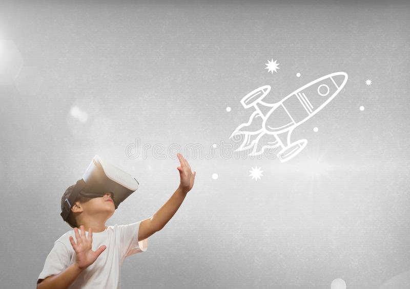 Boy in VR headset touching space illustrations against grey background with flares stock illustration