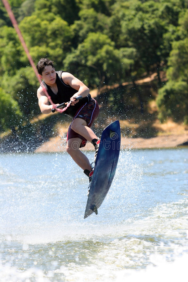 Boy Wakeboarding royalty free stock photography