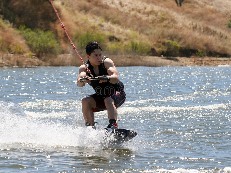 Boy Wakeboarding stock image
