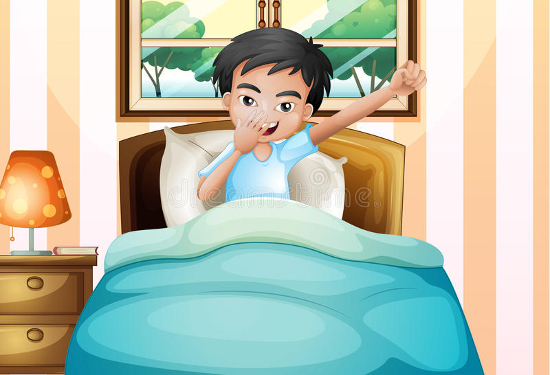 A boy waking up early. Illustration of a boy waking up early stock illustration