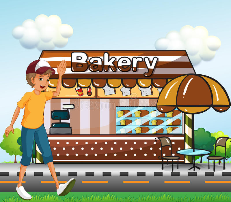 Download A Boy Walking Across The Bakery Stock Vector - Image: 32201726