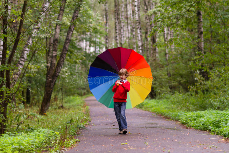 Boy walking in a beautiful forest under a colorful umbrel royalty free stock images