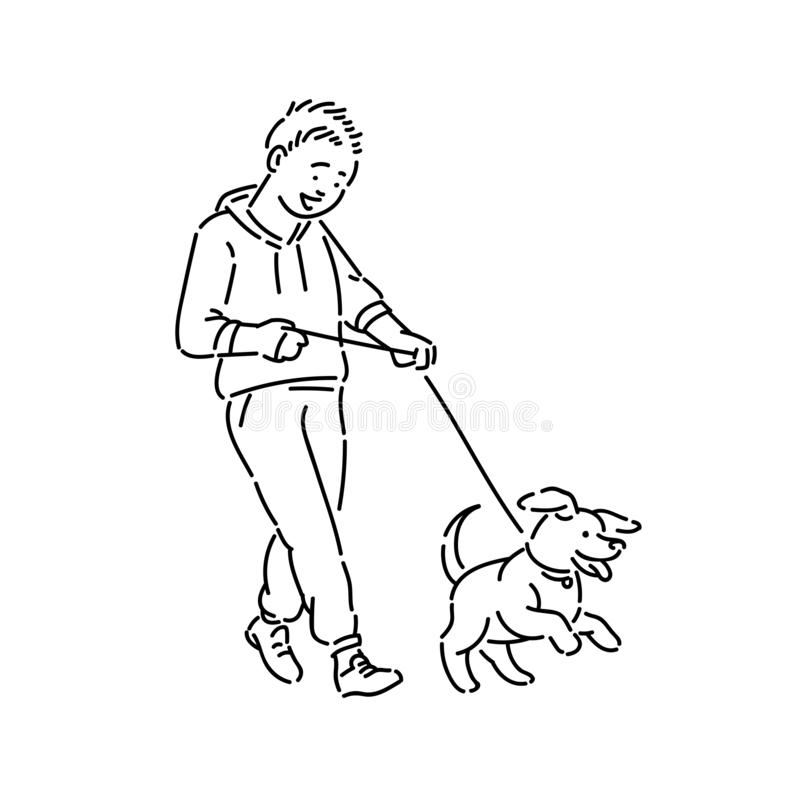 Free Boy Walking Dog Puppy On Leash. Promenade With Pet Line Art Style Character Vector Black White Isolated Illustration. Royalty Free Stock Images - 146086139