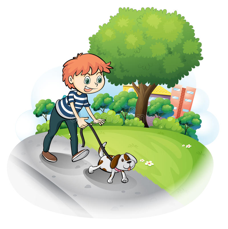 Download A Boy Walking With His Dog Along The Street Stock Vector - Image: 31791615