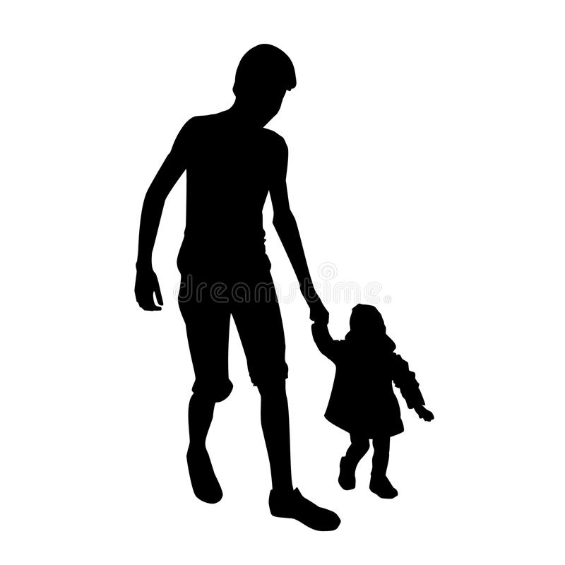 Boy walking with little girl royalty free stock photo