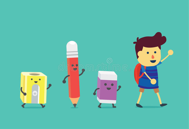 Boy walking to school with stationery for students. Pencil and eraser and pencil sharpener walking follow the him stock illustration