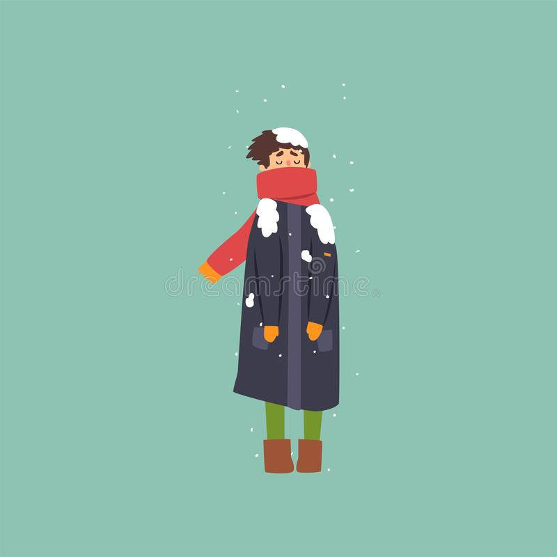 Boy in warm coat and scarf freezing and shivering on winter cold vector Illustration. Flat style vector illustration