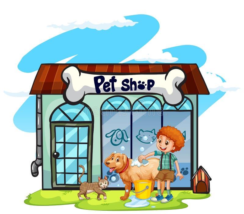 Boy washing dog at pet shop. Illustration stock illustration