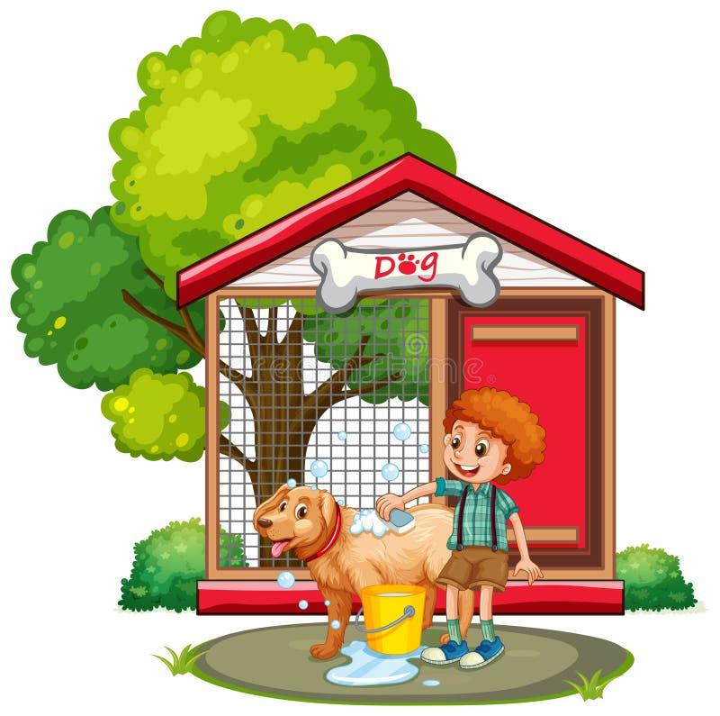 Boy washing dog with shampoo. Illustration royalty free illustration