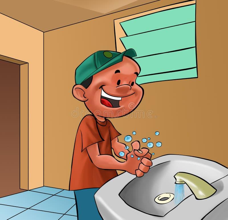 Boy washing hands royalty free illustration