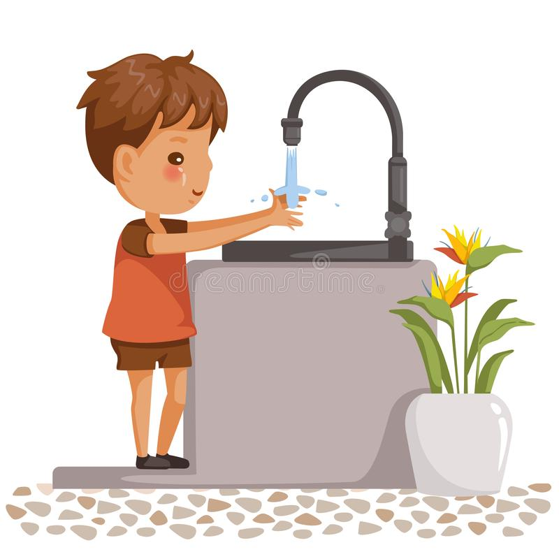 Boy washing hands. Side view of children standing at the sink. little boy washing his hands in the bathroom. Vector cartoon illustrations isolated on white vector illustration