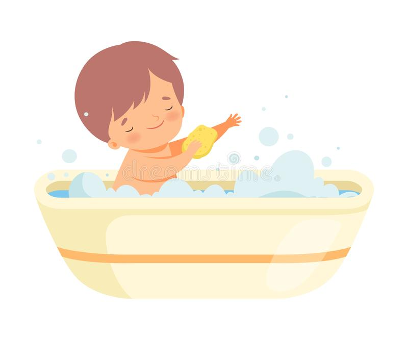 Boy Washing Himself with Sponge in Bathtub Full of Foam, Adorable Little Kid in Bathroom, Daily Hygiene Vector. Illustration on White Background stock illustration