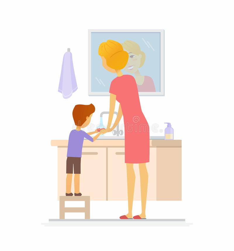 Boy washing his hands - cartoon people character isolated illustration. On white background. An image of a careful mother helping her son to use soap in the stock illustration