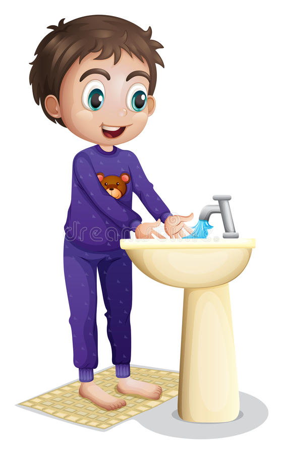 A boy washing his hands. Illustration of a boy washing his hands on a white background royalty free illustration